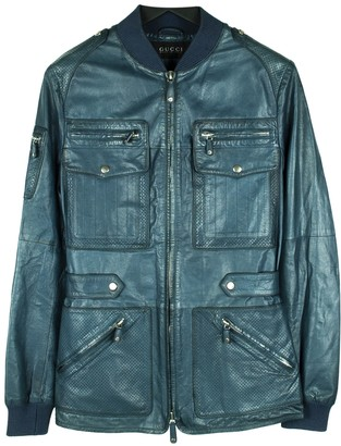 Gucci Blue Leather Jackets