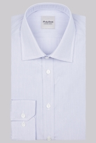 Hardy Amies Slim Fit Blue Single Cuff Stripe Shirt