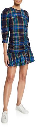 Tanya Taylor Raven Ruched Plaid Flounce Dress