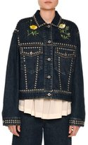 Stella McCartney Floral-Embroidered Studded Denim Jacket, Blue Notte