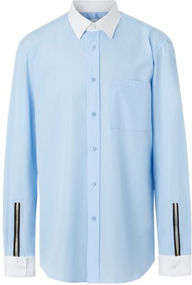 Burberry Classic Fit Zip Detail Cotton Poplin Shirt
