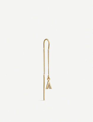 Rachel Jackson A initial 22ct gold-plated vermeil sterling silver earring