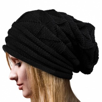 Quistal Hat Clearance! Women Winter Crochet Hat Knit Skull Slouchy Beanie Baggy Warm Caps Berets (Black)