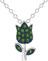 Ice.com 1/4 Carat Green Diamond Sterling Silver with Blue Rhodium Flower Pendant w/Chain