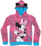Disney Minnie Mouse Animal Print/Bow Big Girls' ZipUp Hoodie Hooded Sweatshirt