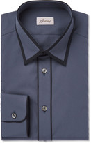Brioni - Contrast-tipped Cotton-poplin Shirt