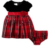 Iris & Ivy Pleated Sash Velvet & Plaid Taffeta Dress (Baby Girls)