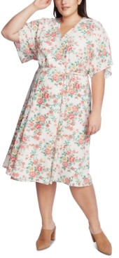 1 STATE 1.state Trendy Plus Size Floral-Print Wrap Dress