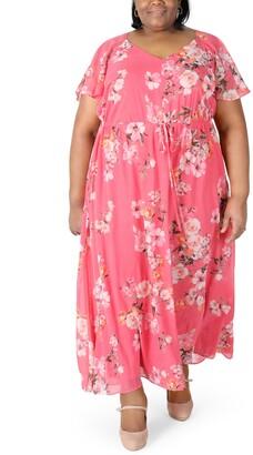 Robbie Bee Plus Size Flutter-Sleeve Maxi Dress