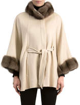 Gorski Cashmere Belted Cape with Sable Fur