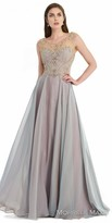 Morrell Maxie A-line Iridescent Chiffon Evening Gown