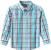 Joe Fresh Toddler Boys' Check Button Front Shirt, Aqua (Size 2)