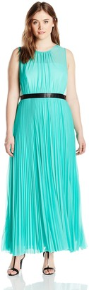 ABS by Allen Schwartz Women's Plus-Size Sheer Gown with Pleated Skirt