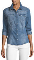 Etienne Marcel Giselle Snap-Front Collared Denim Shirt