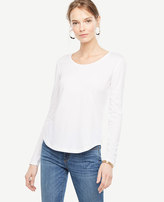 Ann Taylor Petite Pima Cotton Scoop Neck Long Sleeve Tee