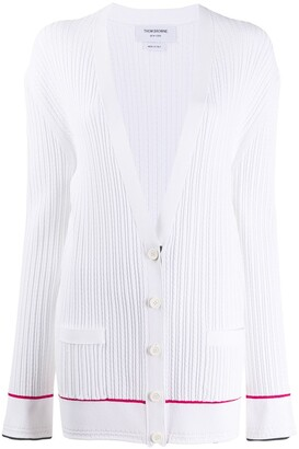 Thom Browne Baby Cable Low V Neck Cardigan In Viscose Elite