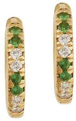 Ileana Makri Classic 18K Yellow Gold, Diamond & Tsavorite Mini Hoop Earrings