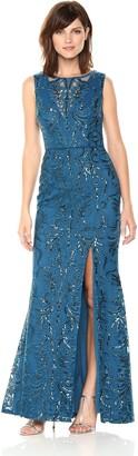 Adrianna Papell Women's Sequin Scroll Long Dress