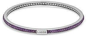Lagos Sterling Silver Caviar Icon Amethyst Beaded Bangle Bracelet