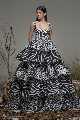 Isabel Sanchis Belforte Sleeveless Tiered A-Line Gown