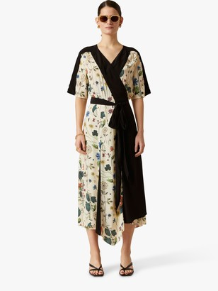 Jigsaw Floral Print Wrap Dress, Cream
