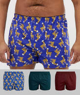 Asos PLUS Woven Boxers With Llama Print 3 Pack