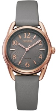 Citizen Drive From Eco-Drive Women's Gray Leather Strap Watch 30mm