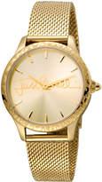 Just Cavalli 34mm Logo Stainless Steel Bracelet Watch w/ Leopard Bezel, Gold