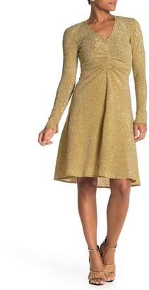 Donna Morgan Long Sleeve V-Neck Sequin Dress