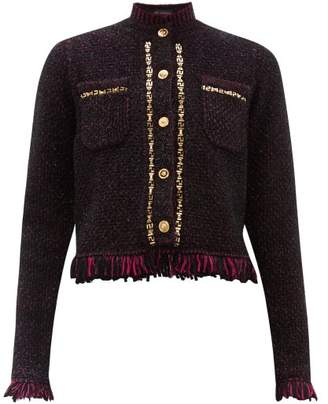 Versace Chain-trimmed Fringed Tweed Jacket - Womens - Purple Multi