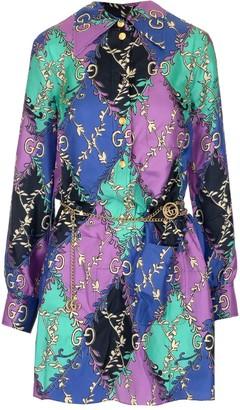 Gucci All Over Logo Print Shirt Dress