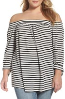 Daniel Rainn Plus Size Women's Off The Shoulder Stripe Knit Top