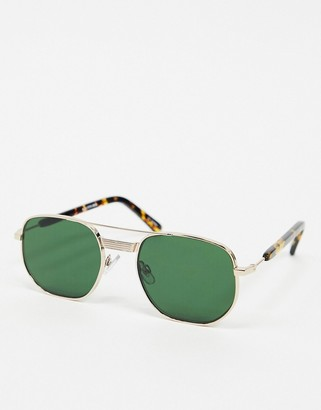 Spitfire Nailsea aviator sunglasses in gold with green lens