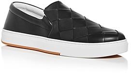 Bottega Veneta Men's Wide Weave Leather Slip-On Sneakers