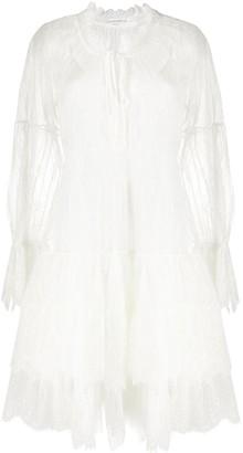 Ermanno Scervino Tiered Floral Lace Mini Dress