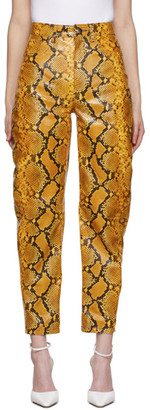 ATTICO Yellow Leather Python Slouchy Pants