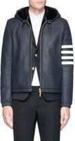 Thom Browne Sheepskin leather hooded jacket