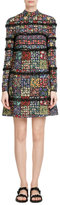 Valentino Floral Patchwork Silk Dress with Lace Trim