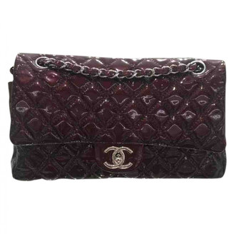 Chanel Timeless/Classique Burgundy Patent leather Handbags