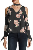 Cupcakes And Cashmere Jon Cold-Shoulder Floral-Print Silk Blouse