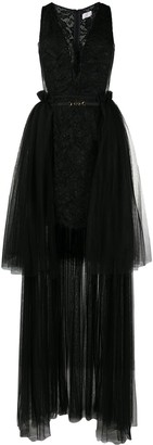 Elisabetta Franchi Sleeveless Tulle And Lace Dress