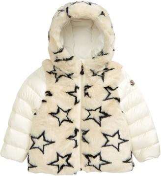 Moncler Joseline Stars Jacquard Hooded Faux Fur Down Jacket