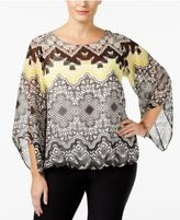 Alfani Plus Size Printed Bell-Sleeve Top, Created for Macy's
