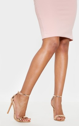 Stylish Clover Metallic Rose Gold Strap Heeled Sandal
