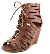 Mia Issy Women Open Toe Synthetic Brown Wedge Sandal.