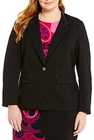 Peter Nygard Plus Faux-Lether Trimmed Slim Blazer