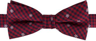 Tommy Hilfiger Big Boys Pre-Tied Snowflake Mini-Plaid Bow Tie