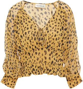 Nicholas Gathered Leopard-print Silk-georgette Top
