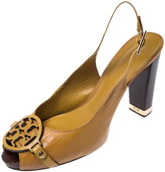 Tory Burch Mustard Yellow Leather Raphael Logo Slingback Open Toe Sandals Size 39.5