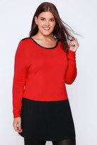 Yours Clothing Red & Black Colour Block Longline Jumper With Silver Shoulder Zips